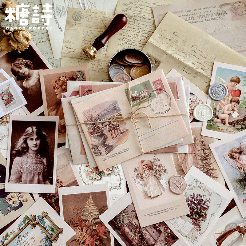 Vintage Envelope Bullet Journal Decorative Scrapbooking DIY Diary Album Stick Lable Retro Kraft Paper Material Non-sticky