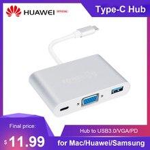 3 em 1 tipo c hub usb c para usb3.0/vga/tipo-c adaptador 1080p conversor de substituição para mac/huawei/samsung (prata)
