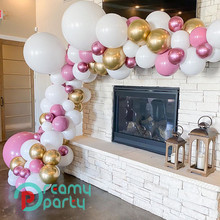 98 uds, globos Vintage de látex color melocotón, guirnalda de globos de color rosa cromado, arco para Baby Shower, cumpleaños, decoración para fiesta de boda