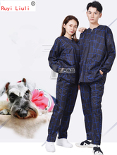 New type of pet grooming clothes anti-hair anti-splash water work printed logo with the same wash dog clothe