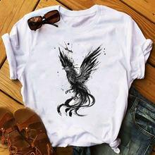 Женская элегантная модная футболка 2020 с рисунком Совы и цветком