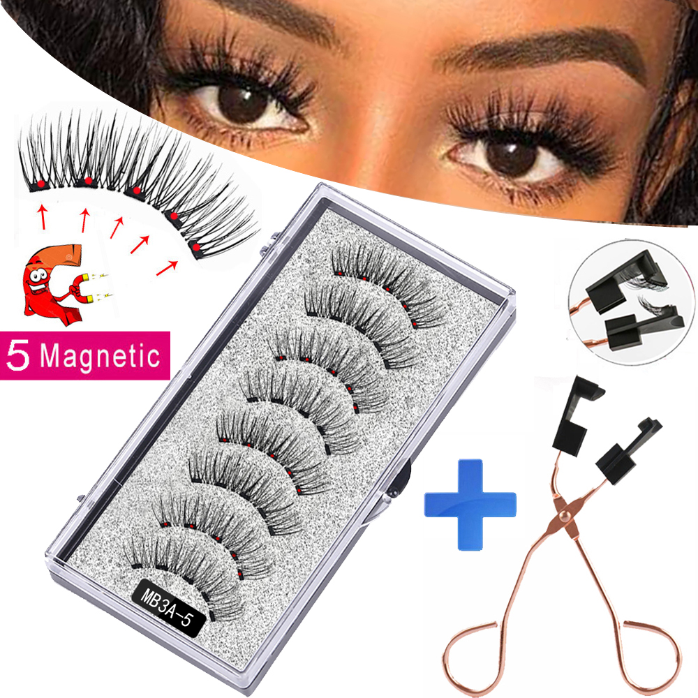 New MBA 5 Magnetic Eyelashes Curler Set Long 3D Mink Magnetic lashes Wear faux cils magnetique Natural Thick False Eyelashes 1