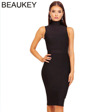 BEAUKEY mode col roulé robe moulante 2018 Sexy moulante Midi sans manches Vestido moulante robe moulante noir rouge armée vert XL