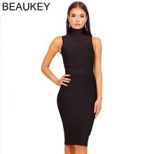 Beaukeyファッションタートルネック包帯ドレス2018セクシーなボディコンミディノースリーブvestidoボディコン包帯ドレス黒赤アーミーグリーンxl