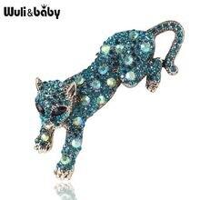 Wuli & baby Стразы Броши «леопард» для женщин и мужчин синие