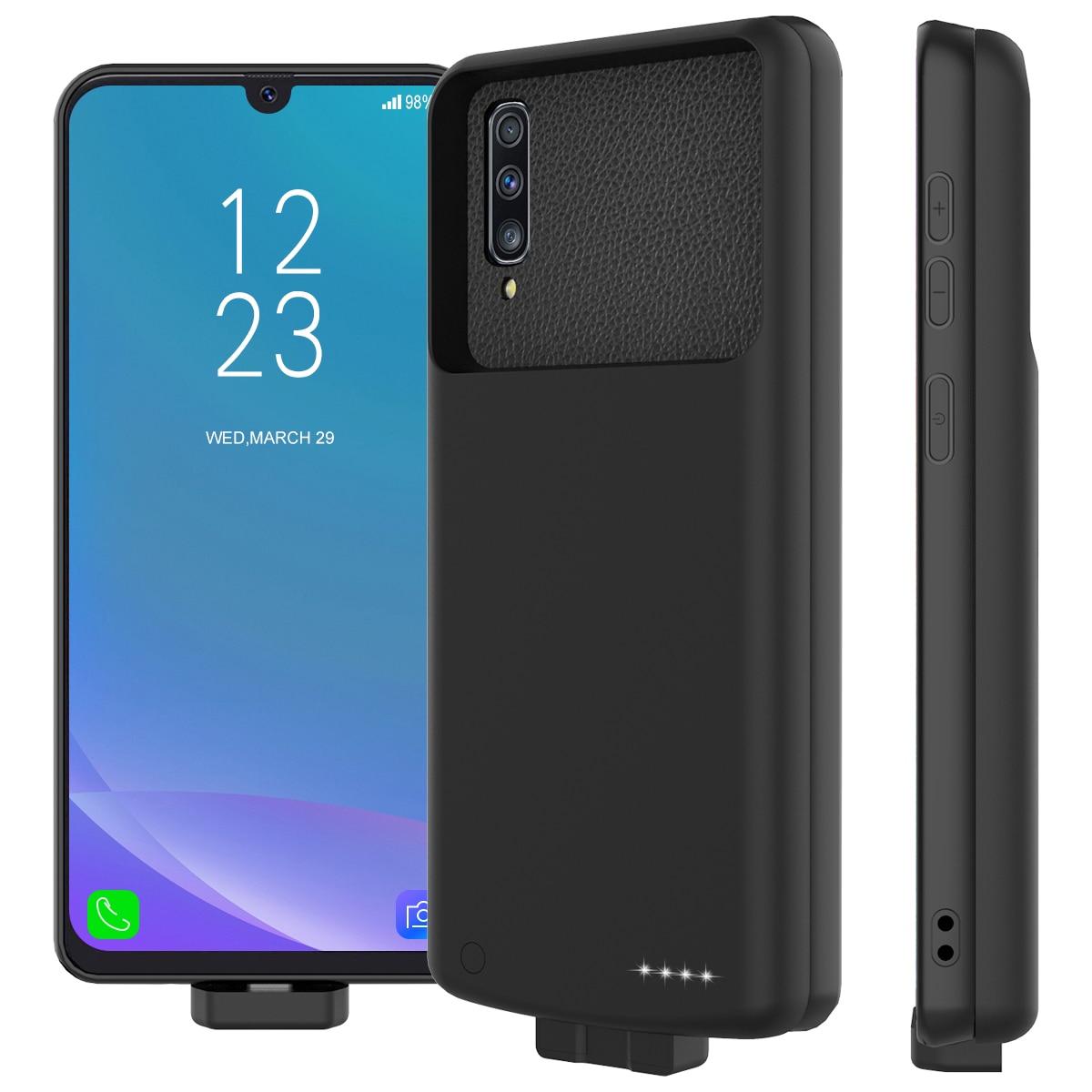 Для samsung Galaxy A50 7000mAh зарядное устройство чехол Магнитный внешнее резервное зарядное устройство power Bank защитный чехол с петлей Fundas - Цвет: Черный