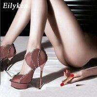 Eilyken femmes plate-forme talons hauts 16CM pompes Peep orteil fermeture éclair pompes sandales Stiletto femme Club chaussures