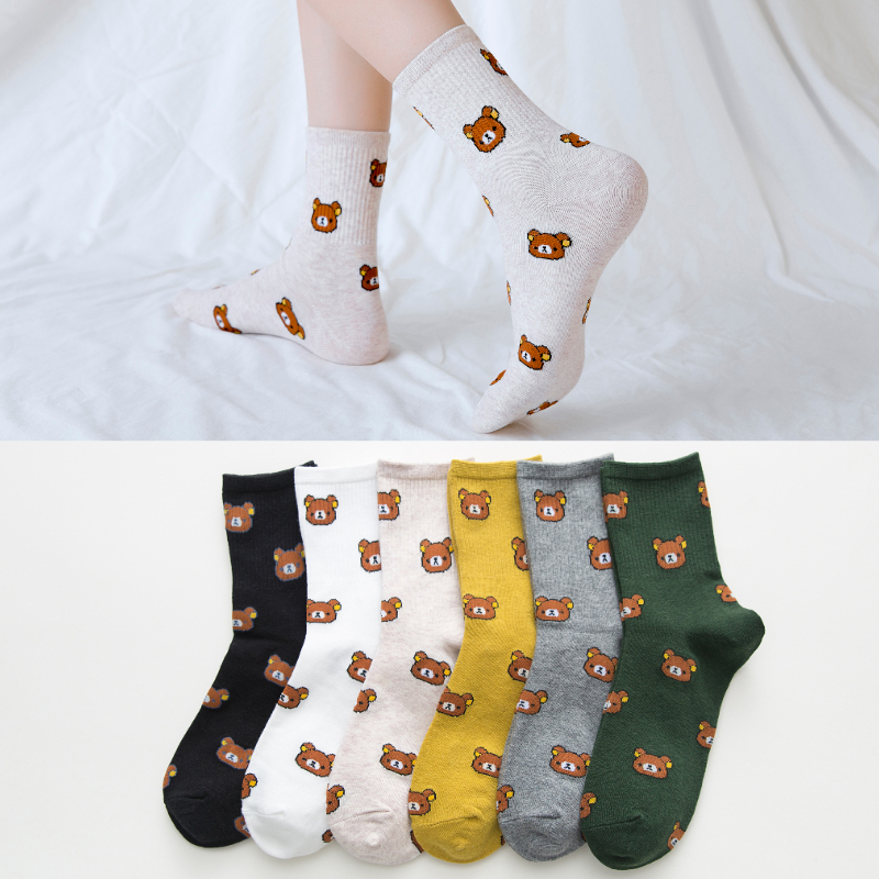 Cute Women's Socks Fashion Kawai Cartoon Combed Cotton Funny Bear 5 Colors Korean College Wind A Pair Of Socks Size:35-40