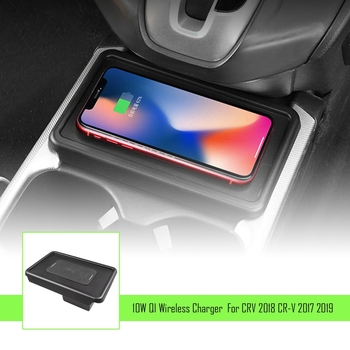 Universal 10W Qi Wireless Charger Car Console Quick Wireless Charger for HONDA CRV 2017-2019 for Iphone 8 X XS and All Qi-Enable