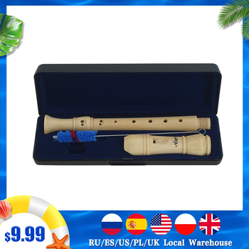 Aiersi Maple Wood Soprano Recorder Flute German Baroque Style Key of C Professional with Hard Case 2 3 Piece Musical Instrument fste western concert flute 16 holes c key cupronickel musical instrument with cleaning cloth stick gloves screwdriver gold