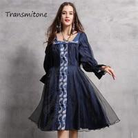 Women Dress 2019 Autumn Vintage Dresses Organza Dresses Long Flare Sleeve Square Collar Embroidery Vestidos B82131 A line Dress