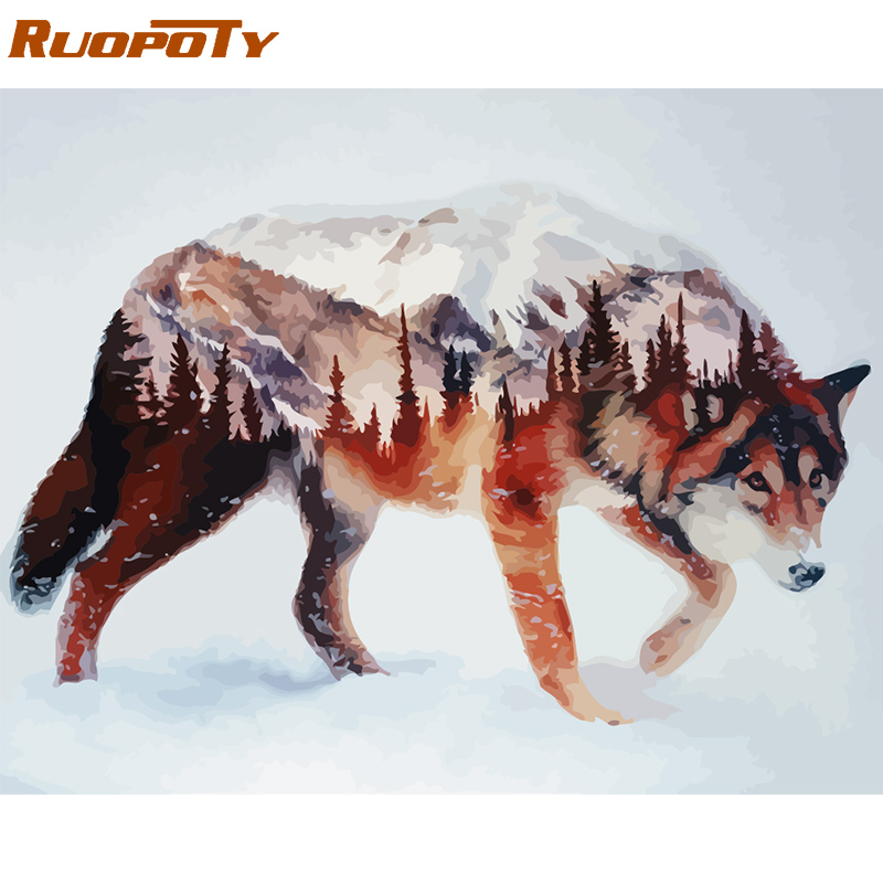 RUOPOTY Frame Wolf DIY Painting By Numbers Calligraphy Painting Acrylic Paint By Numbers Wall Art Picture For Home Decors