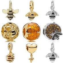 Abelha encantos diy pingente grânulos colar & pulseira acessórios caber pandora original pulseira pulseira jóias apis grânulo
