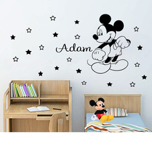 Disney  Mickey Mouse Wall Sticker Personalized Name for Kids Room Boy bedroom accessories Art Decor Nursery