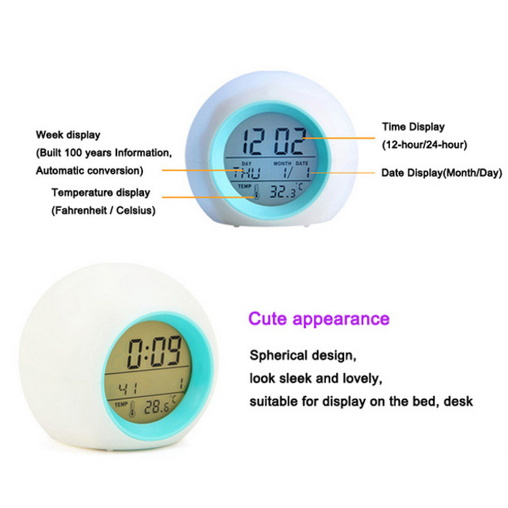 LED Alarm Clock Light Digital Clock Thermometer 7 Colors Changing Light Night Glowing Clocks For Kids Table Desktop Despertador Pakistan
