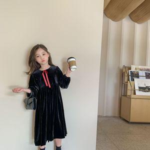 Image 5 - Jesień nowe 2020 sukienki dla dzieci dla dziewczynek ubrania dla dzieci Princess Dress eleganckie dzieci Midi sukienka maluch Party Dress Velvet,#5404