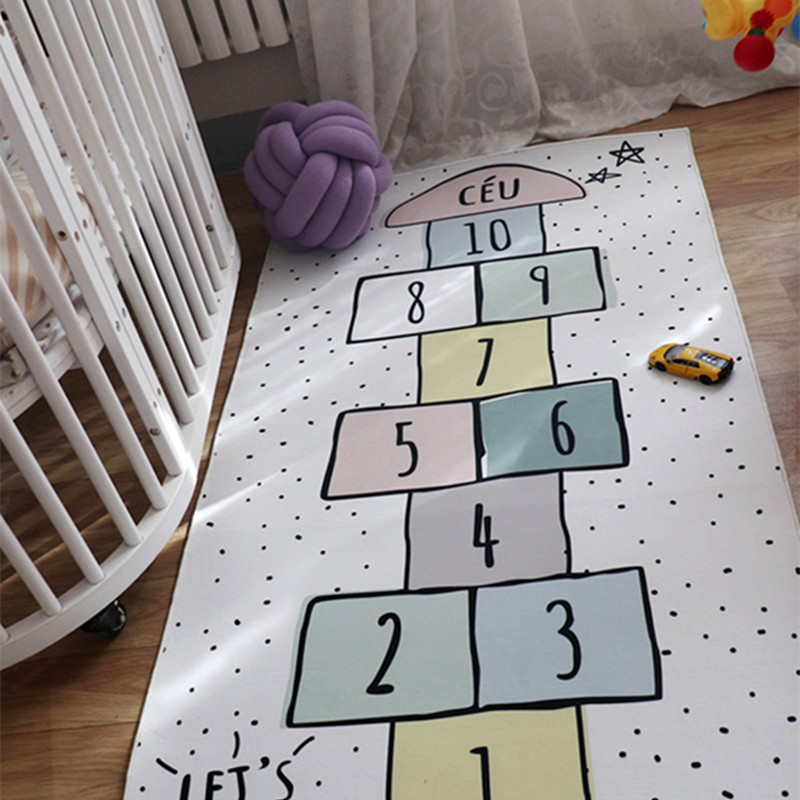 Baby Room Decoration Macaron Color Baby Hopscotch Game Mat Newborn Activity Gym Infant Photograph Props Crawling Blanket Carpet