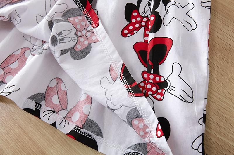 Baby Girls Clothes Summer Dress Flying Sleeve Newborn Infant Dresses Cotton Minnie Dress+Headband Toddler Dresses for Baby Girls 4