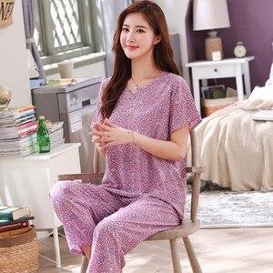 Fdfklak Plus Size Pajamas Women Print Cotton Sleepwear Pijamas New Mother's Home Clothes Summer Nightwear Set Pyjama Femme 4XL