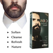 Men Beard Dye Cream Fast Color Natural Black Long Lasting Tint Mustache &