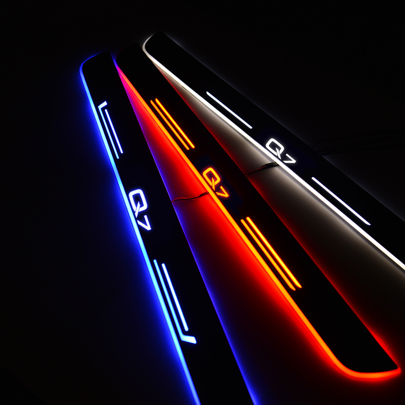 LED Door Sill For Audi Q7 SUV 4LB 2006 2007 2008 2009 2010 2011 2012 2013 2014 2015 2016 Car Door Scuff Plate Entry Guard