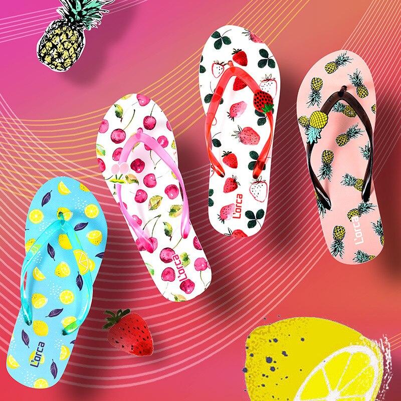 Women Flip Flops Ladies Summer Slippers Pine Apple Strawberry Lemon Cherry Woman Beach Chinelo For Women's Lady Shoes Wholesale