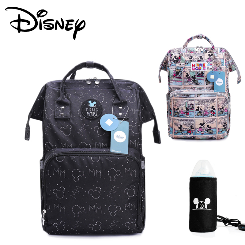 Disney Diaper Bag Backpack Mickey Mouse USB Heating Bag Kids Anti-lost Belt Diaper Backpack Travel Backpack Mummy Bag Pre-design