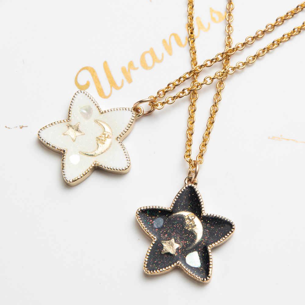 Romantik tatlı sevimli yıldız ve ay şekli kolye kolye kadınlar ve çocuklar için noel hediyeleri boyun süsler aksesuarları