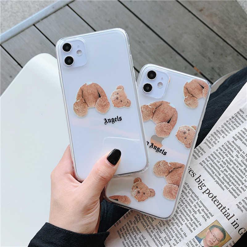 クリアソフトキル天使のためのiphone 6s 7 8 xs xr最大 11 プロ 11Proファッション透明テディベアシリコン電話カバーcoque