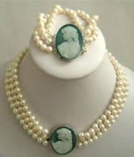 3 нити 7 8 мм белый жемчуг akoya Камея ожерелье браслет