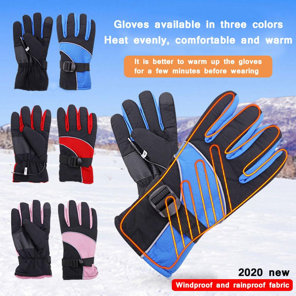 Зимние перчатки с подогревом, перезаряжаемые теплые перчатки, водонепроницаемые термоперчатки с сенсорным экраном для катания на лыжах, хо...