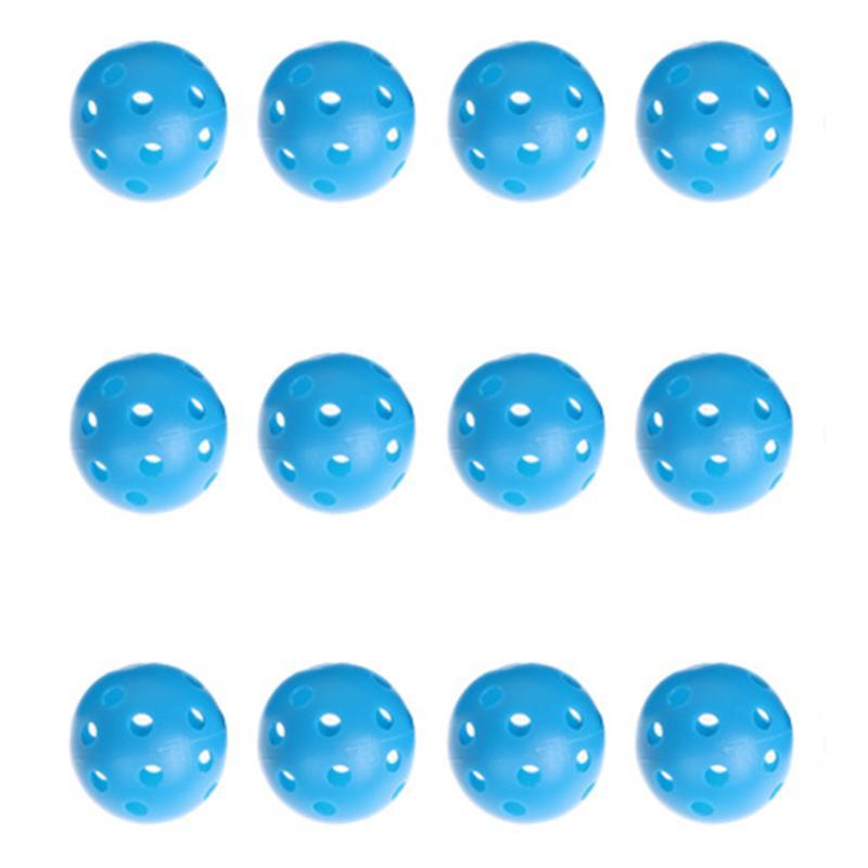 12pcs Blue Plastic Whiffle Airflow Hollow Golf Practice Training Balls