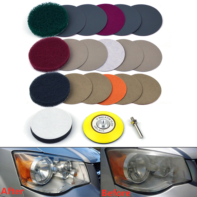 Automotive Polishing Pad Set Headlight Repairing Kit Sandpaper 3inch 240/400/1000grit Scouring Cloth