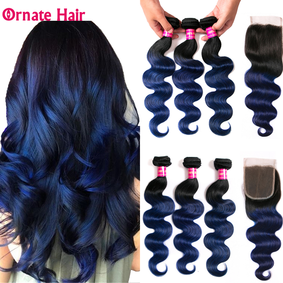 Ornate Body Wave Bundles With Closure Ombre Bundles With Closure Non-Remy Malaysian Human Hair Bundles With Closure Middle Ratio