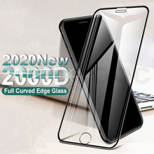 Protector de pantalla de vidrio templado con borde curvado 2000D, para iPhone SE 2020, 6, 6S, 7, 8 Plus, 11 Pro, XS, Max, X, XR