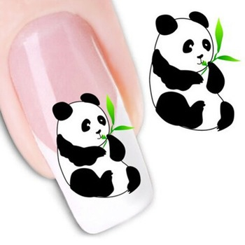 1 PC 3D Nail Sticker Decals Panda Design Nails Slider Tape Decorations Manicure Adhesive Wraps Nail Art Accessories image