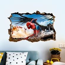 Marvel spiderman wall decals for kids room boy accessories 3Deffect stickers DIY posters gift pvc mural art