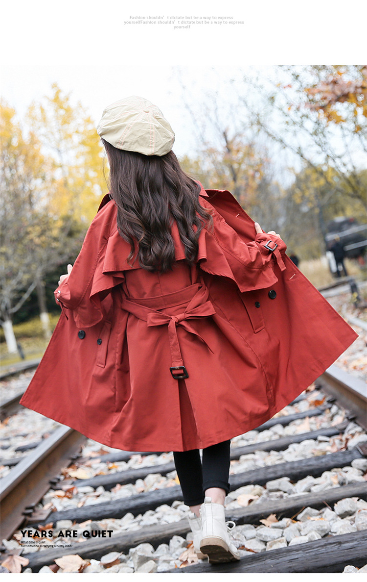 2020 Big Kid`s Outerwear Cotton British Style Trench Coat for Girls Fashion Long Windbreaker Jackets, (5)