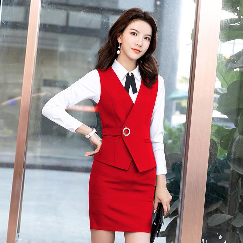 Черный, красный, фиолетовый комплект из двух предметов, женская одежда без рукавов, куртка, юбка, наряды для женщин s, деловой жилет, рабочая одежда, Униформа, костюмы с юбкой