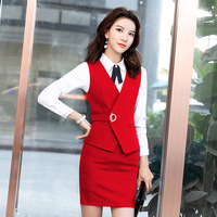 Black Red Purple Two Piece Set Clothes Women Sleeveless Jacket Skirt Outfits Womens Business Vest Work Wear Uniforms Skirt Suits