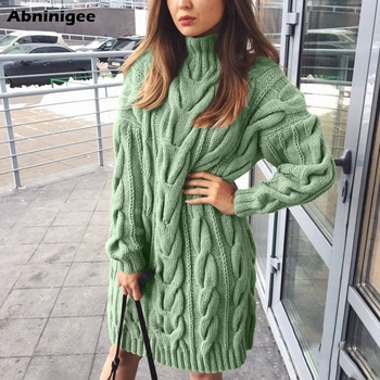 Ladies Sweater Dress High Collar Sweaters Long Sleeve Dresses Pure Color Knitted Pullovers Sweaters Vestido Loose Warm Winter danjeaner autumn knitted sweater women spring loose long sweater dress winter basic dress warm female sweaters ladies pullovers