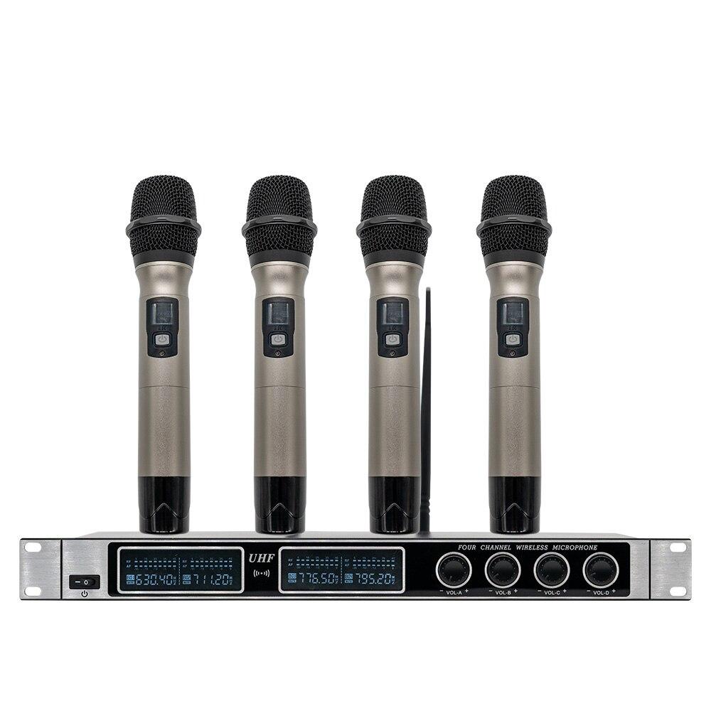 Système de microphone sans fil professionnel UHF 4 microphone portable karaoké famille KTV performance de scène en plein air