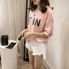 2019 New T-Shirt Women Spring And Summer Personality Letter Print Casual Lace-Up Tops Short-Sleeved Loose Female