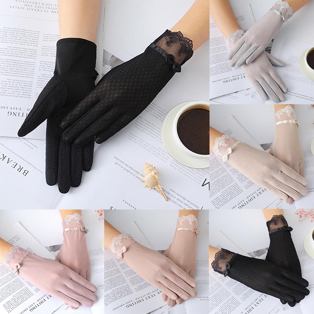 Breathable Anti-skid Fashion Women Bowknot Ice Silk Soft Anti-UV Touch Screen Summer Driving Gloves For Summer