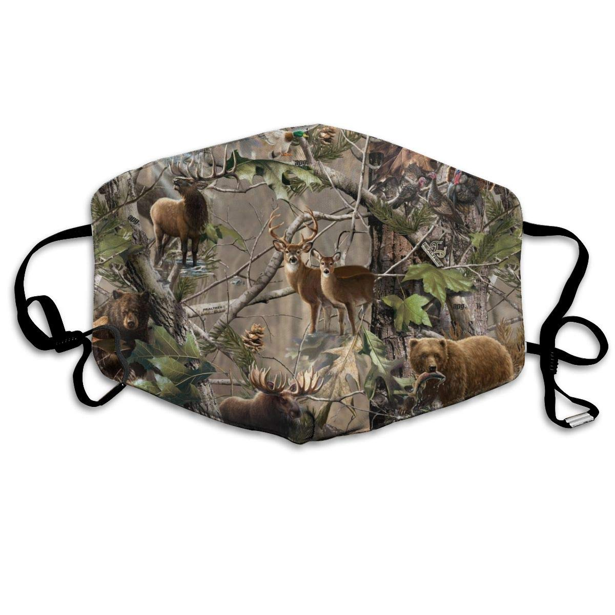 NiYoung Ideal Gift - Women Men Boys Girls Dustproof Hunting Camo Moose Deer Bear Fish Forest Animal Pattern Half Face Mouth Mask