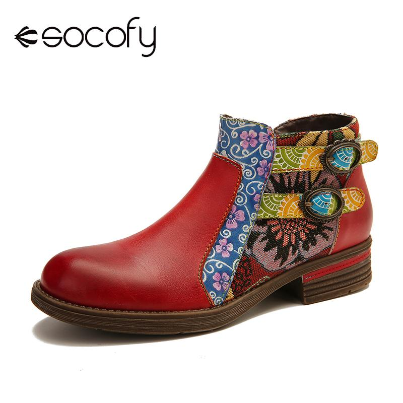 SOCOFY Genuine Leather Boots Splicing Retro Buckle Zipper Flat Ankle Boots Elegant Ladies Shoes Women Shoes Botas Mujer 2020