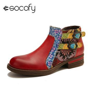 SOCOFY en cuir véritable bottes épissage rétro boucle fermeture éclair plat bottines élégantes dames chaussures femmes chaussures Botas Mujer 2020