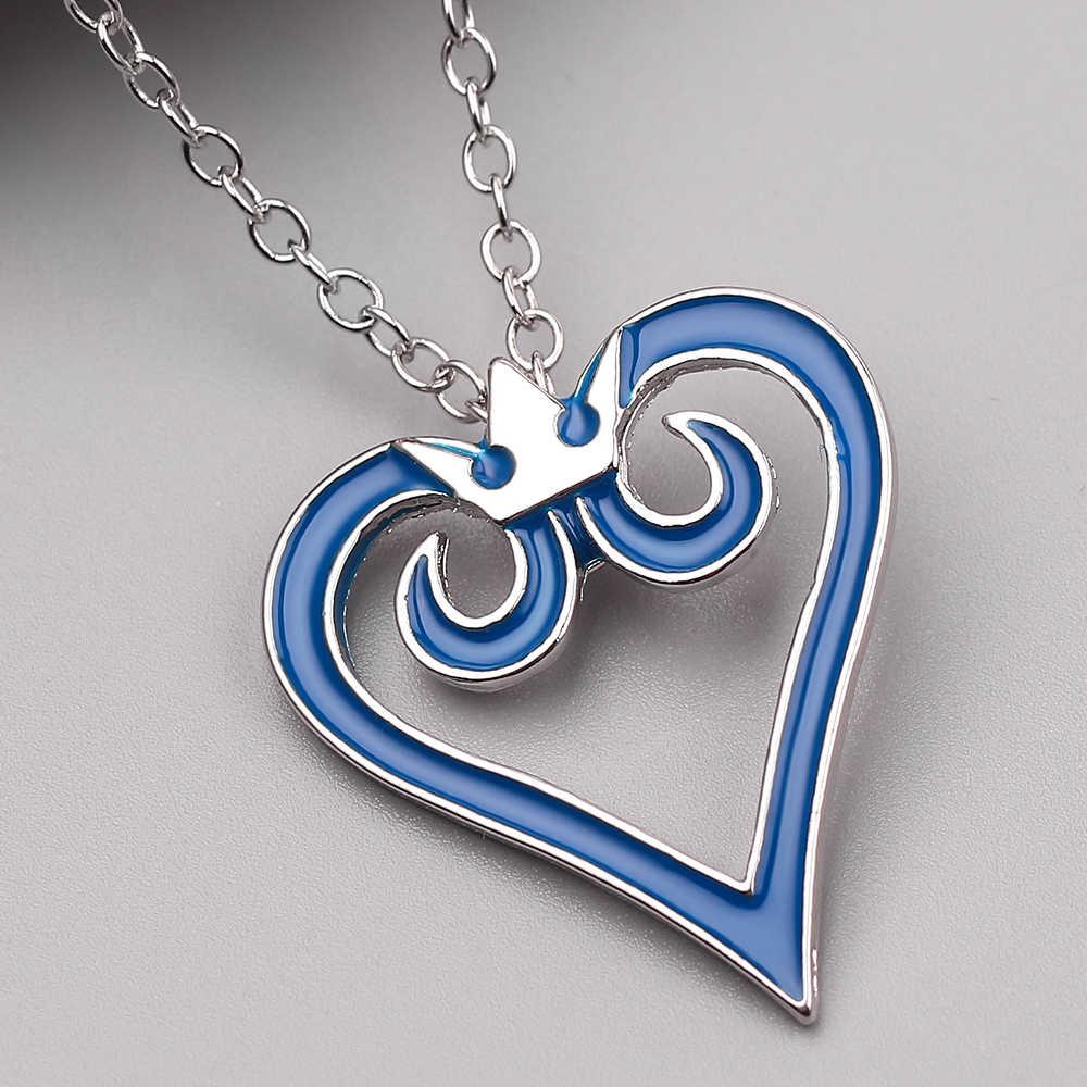 تاج القلب قلادة جوفاء شعبية لعبة المملكة القلب قلادة مطلية بالمينا قلادة لعشاق الرجال النساء هدايا