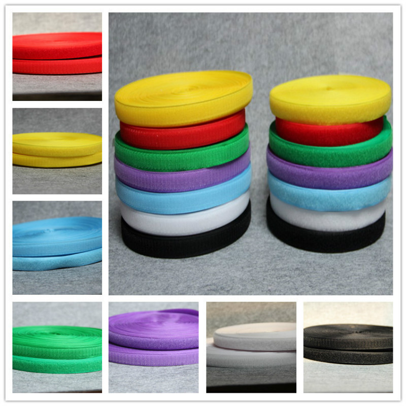 Hot Sale 2cm*1meter pair Multiple colors Velcros Adhesive hook and loop fastener color tape cable ties sewing accessories