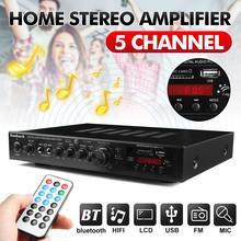 110V 220V 5CH Bluetooth Digital Amplifier Stereo LED USB AV Power Surround Bass High Resolution Audio Player Subwoofer Speakers